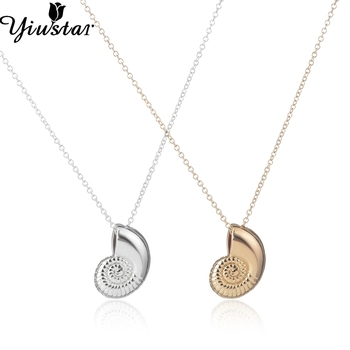 10pcs/lot Seashell Necklace Ariel Voice Shell Necklace Spiral Swirl Sea Snail Ocean Beach Conch Necklaces XL036 21046