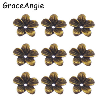 60Pieces Vintage Atq Bronze Alloy Flower Beads Cap Findings 13*13*2MM Bracelet Spacers 04164 Handmade Fashion Jewelry GraceAngie 33404