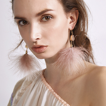 AE-CANFLY Romantic Pink Feather Dangle Drop Earring Exaggerate Party Wedding Ear Jewelry pendientes Women Tassel Earrings 6544