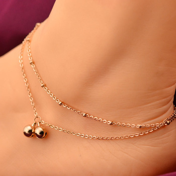 Double Line Tinkle Bell Anklet Rose Gold Color Titanium Steel Fashion Jewelry Valentine Birthday Gift Never Fade 30177